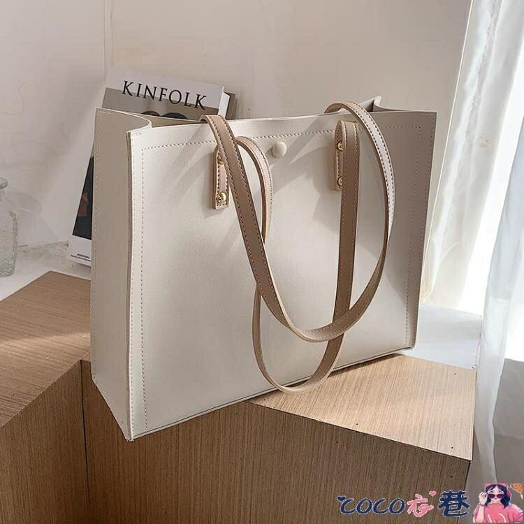 托特包 春夏上新女士大包包2021流行新款潮時尚簡約大容量百搭側背托特包 摩可美家