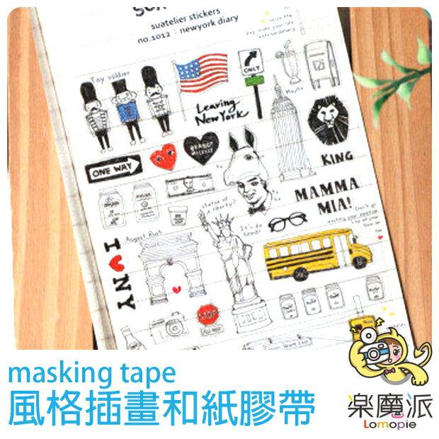 『樂魔派』韓國進口手繪英國插畫透明貼紙 日記塗鴉相本底片裝飾用另售迪士尼紙膠帶