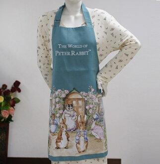 AnniesFriends 彼得兔 Peter Rabbit 居家 廚房 咖啡廳 格紋 雙口袋 比得兔世界圍裙-綠