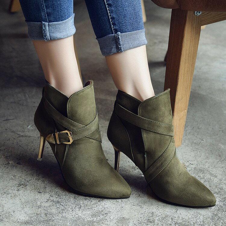 秋冬新款高跟短靴裸靴細跟踝靴尖頭低筒黑色軍綠黃色絨面優質金屬跟女靴