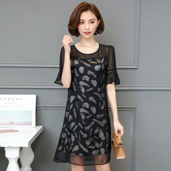 FINDSENSE G5 韓國時尚 夏季 大碼 印花 連身裙 寬鬆 圓領 拼接 喇叭袖 百搭 中裙