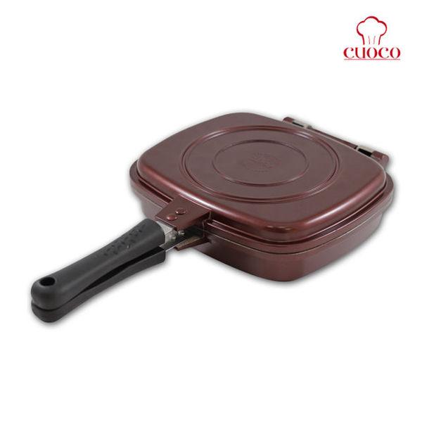 【CUOCO】韓國原裝Pandora s box盒型熱循環不沾雙面煎烤鍋-輕鬆手握翻轉鈦金鍋
