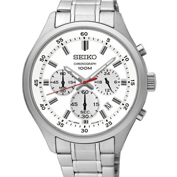 手錶 SEIKO精工銀白三眼計時腕錶NES33 - 限時優惠好康折扣