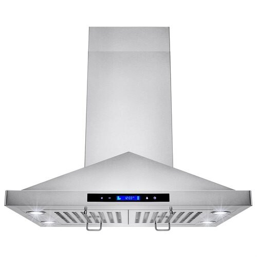 "AKDY NEW 30"" Island Mount Stainless Steel Range Hood Removable Baffle Filters GV-GL9001-30 0"