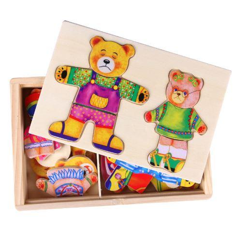 ~省錢博士~兩隻小熊換衣穿衣拼圖拼板兒童遊戲木製早教益智玩具