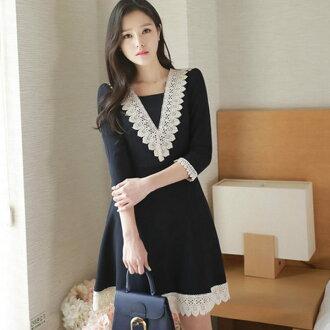 PS Mall韓版蕾絲拼接七分袖連身裙 連身洋裝【T585】
