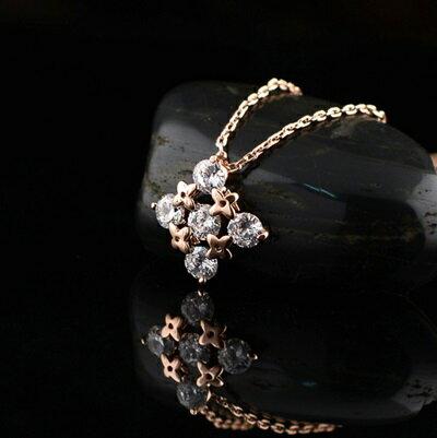 玫瑰金項鍊 鑲鑽純銀吊墜~ 優雅精美別緻七夕情人節 女飾品73dw78~ ~~米蘭 ~