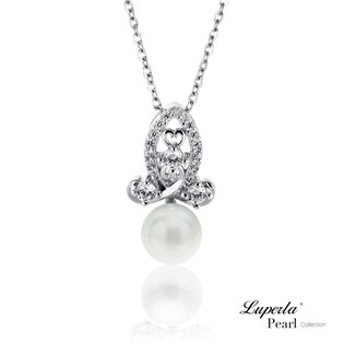 大東山珠寶 luperla:大東山珠寶絕對珍心純銀晶鑽珍珠項鍊