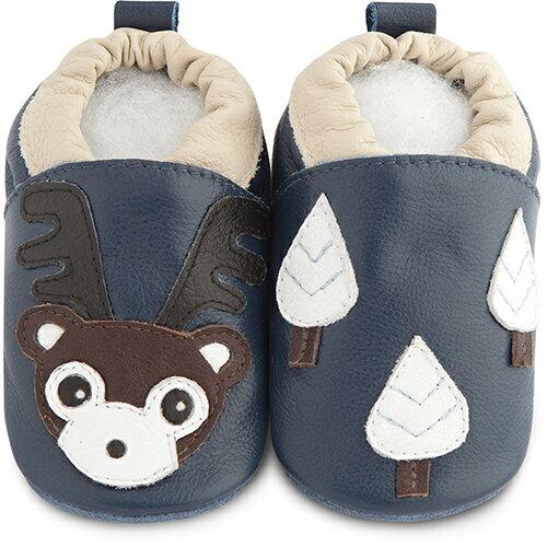 【HELLA 媽咪寶貝】英國 shooshoos 安全無毒真皮手工鞋/學步鞋/嬰兒鞋_海軍藍馴鹿(公司貨)