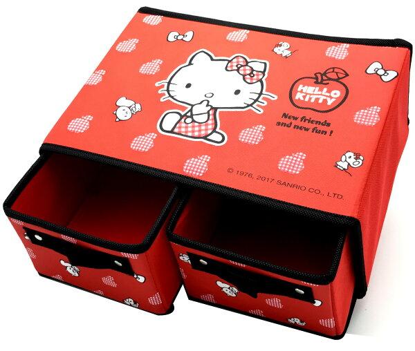 HelloKitty雙格橫式收納盒-蘋果系列