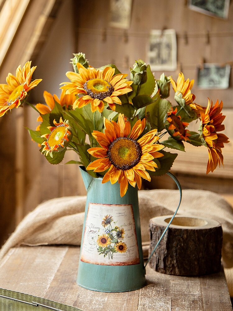 向日葵仿真花束假花擺件設客廳裝飾桌面干花辦公室輕奢太陽花植物