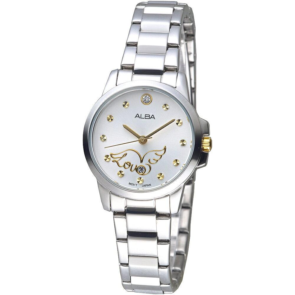 ALBA手錶 Love天使SWAROVSKI晶鑽女錶-珠光白(AH7M15X1)