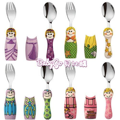 EAT 4 FUN 高品質316不鏽鋼兒童餐具DUOS 二人組(隨機出貨)+外出攜帶盒●叉匙組●美人魚●童話●公主