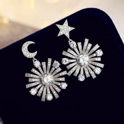 ~925純銀耳環鑲鑽耳飾~ 奢華星星月亮情人節生日 女飾品73du43~ ~~米蘭 ~
