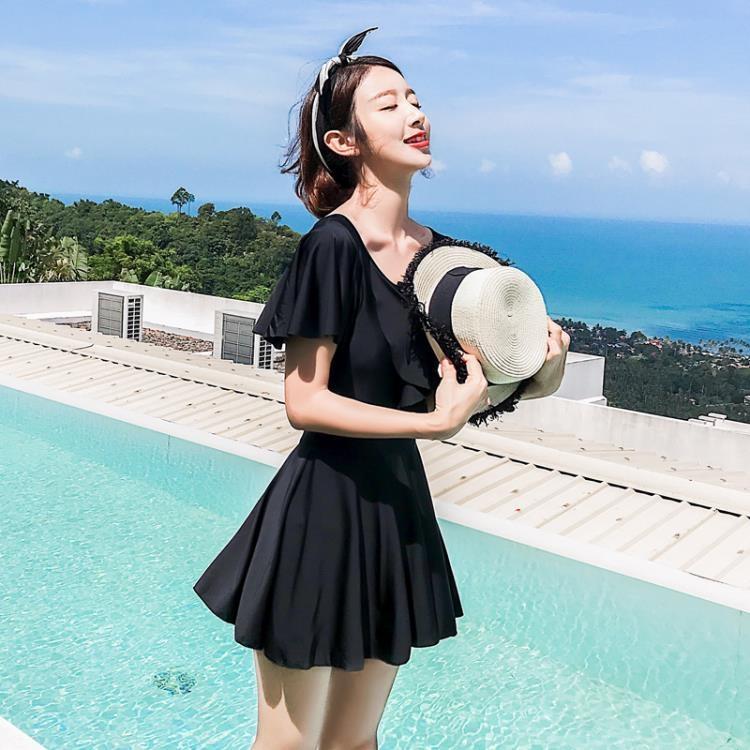 【全館9折免運】泳衣女連身平角保守裙式大碼仙女范性感韓國溫泉新款 凡卡時尚