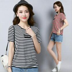糖衣子輕鬆購【GH2936】韓版時尚百搭修身顯瘦條文拼接圓領上衣T恤