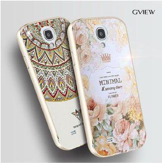 ~三星 Galaxy S4 i9500保護套 彩繪立體浮雕 金屬邊框背蓋 Samsung