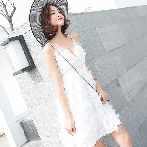 PSMall中長款禮服裙沙灘裙甜美吊帶裙羽毛裙洋裝【T020】