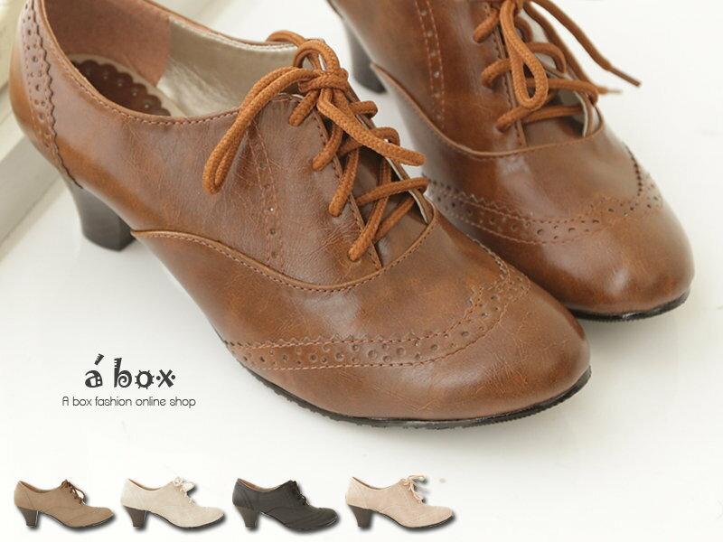 【KIW6650】韓版台灣製 英倫牛津皮質素面綁帶式粗跟超舒適 5.5CM粗中跟 踝靴 短靴 5色現貨 - 限時優惠好康折扣