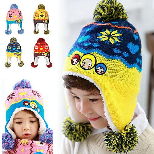 WallFree窩自在★秋冬保暖雪花大頭娃娃造型拚色毛球兒童毛絨帽
