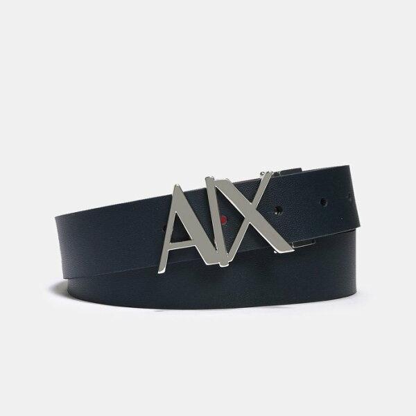 美國百分百【ArmaniExchange】AX男配件皮帶真皮牛皮腰帶logo雙面深藍紅色H713