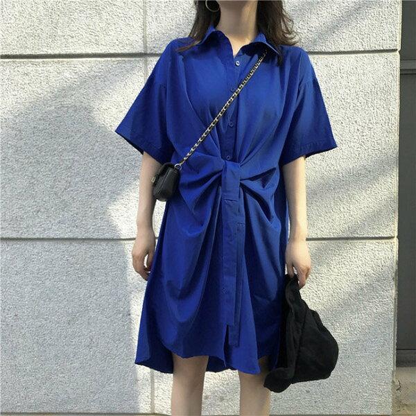 短袖洋裝單排釦翻領打結長版衫個性短袖連身裙【MY6815】BOBI0705