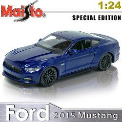 【Maisto】2015 Ford Mustang GT《1/24》合金模型車 -藍色