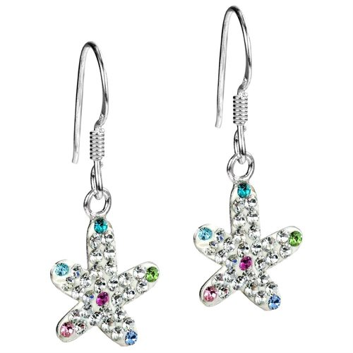 Star in the Sea White Crystal Encrusted Sterling Silver Earrings 1
