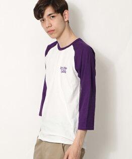 7分袖印花T恤BWHITE×PURPLE