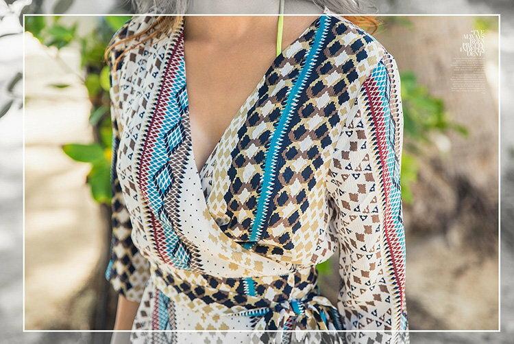 罩衫 印花 綁帶 開襟 外套 開衩 長款 沙灘 比基尼 罩衫【ZS361】 BOBI  04 / 26 6