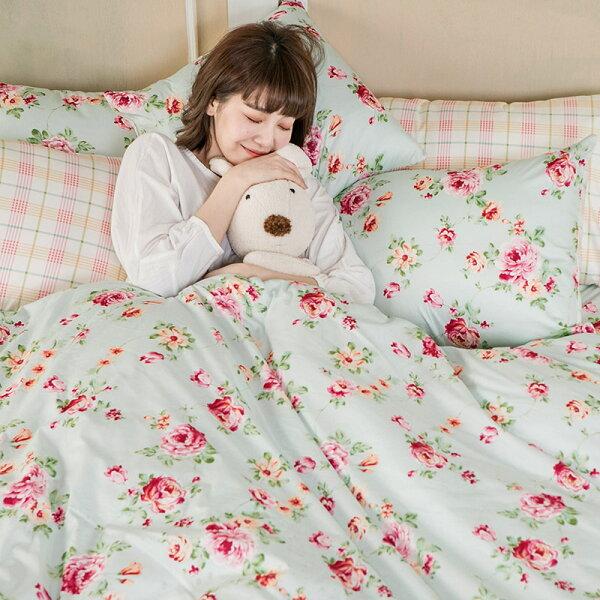 床包被套組單人-100%精梳棉【玫瑰粉格】含一件枕套,花語系列,戀家小舖,台灣製