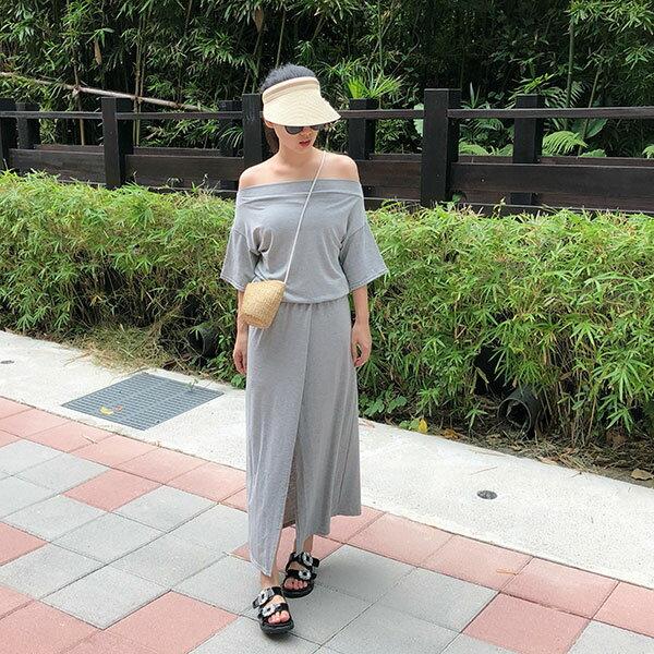 正韓一字領開衩洋裝棉質露肩連身裙長洋裝短袖開岔顯瘦彈性休閒寬鬆韓國ANNAS.