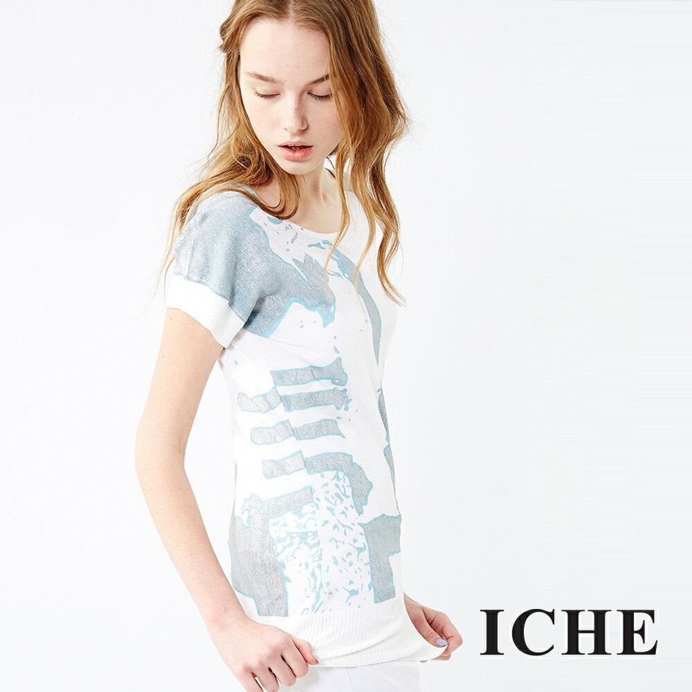 ICHE 衣哲 水波紋印花針織上衣 兩色