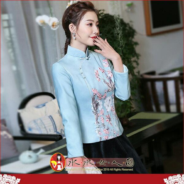 【水水女人國】~另人驚豔。優雅中國風美穿在身~溫暖上市 青芳。復古典雅定位印花改良式時尚百搭鋪棉長袖旗袍式唐裝上衣