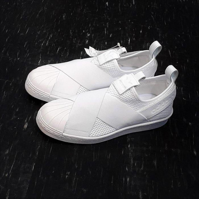 adidas SUPERSTAR SlipOn W 繃帶鞋 白色 全白 交叉 襪套 貝殼頭 網布 皮革 BY2885