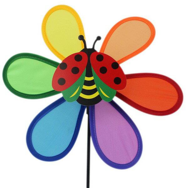 六彩布風車+昆蟲中型直徑約23cm一件300支入{促49}尼龍布彩色風車風車童玩~AA-5364
