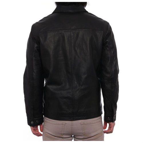Perry Ellis Lambskin Leather Open Bottom Jacket Mens  Basic Jacket 1