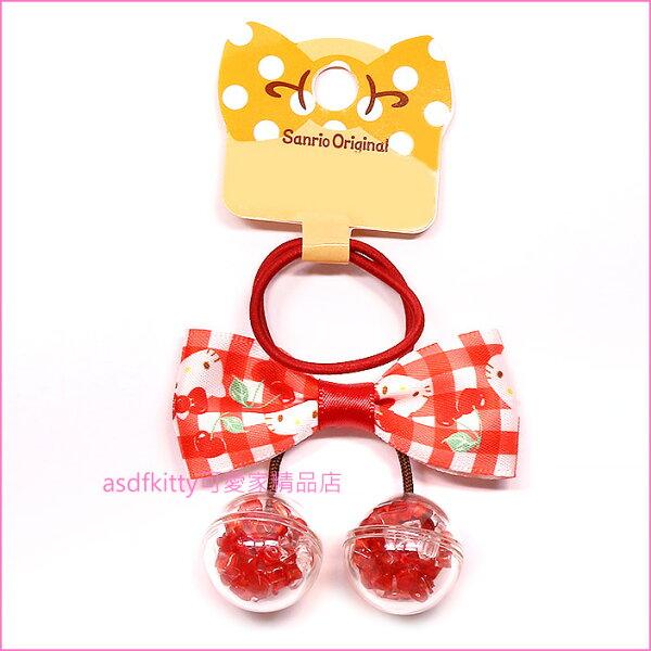 asdfkitty可愛家☆KITTY蝴蝶結櫻桃造型髮束髮飾彈性髮圈-日本正版商品