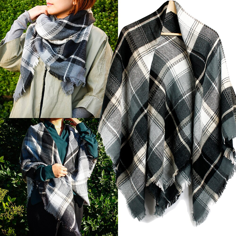 Women Plaid Scarf Tartan Wrap Lattice Large Warm Cozy Blanket Soft Shawl Checked Winter Scarfs for Women 1