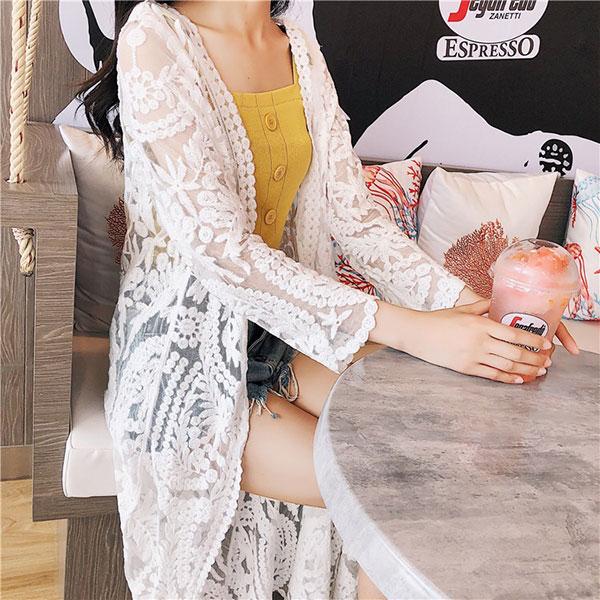 外套透膚大花罩衫刺繡長版上衣洋裝長袖遮陽防曬比基尼泳衣泳裝性感顯瘦透視披肩外搭ANNAS.