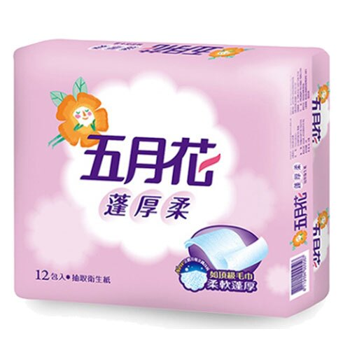 五月花蓬厚柔抽取式衛生紙100抽*12包【愛買】