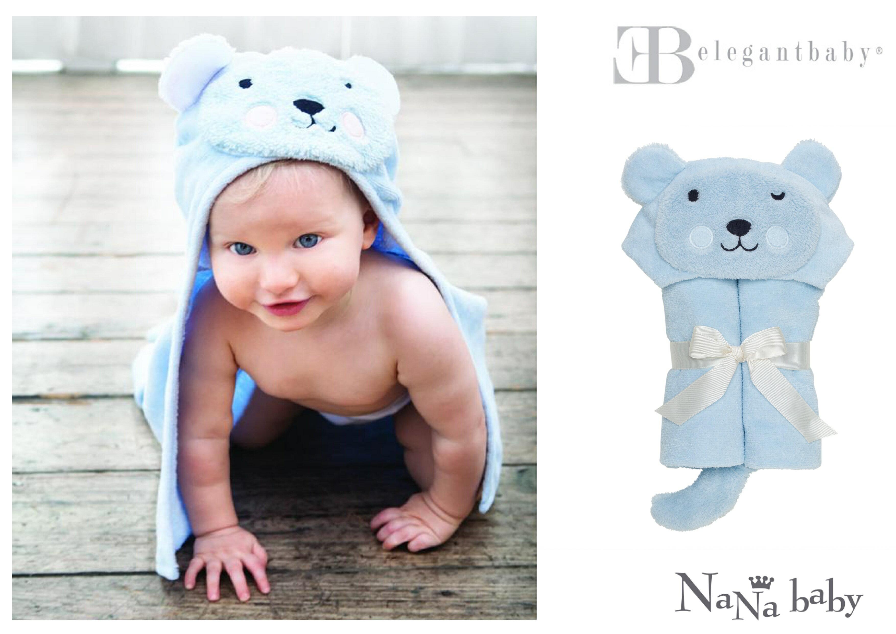 【美國Elegant Baby】動物造型連帽浴巾- 粉藍小熊 #79577