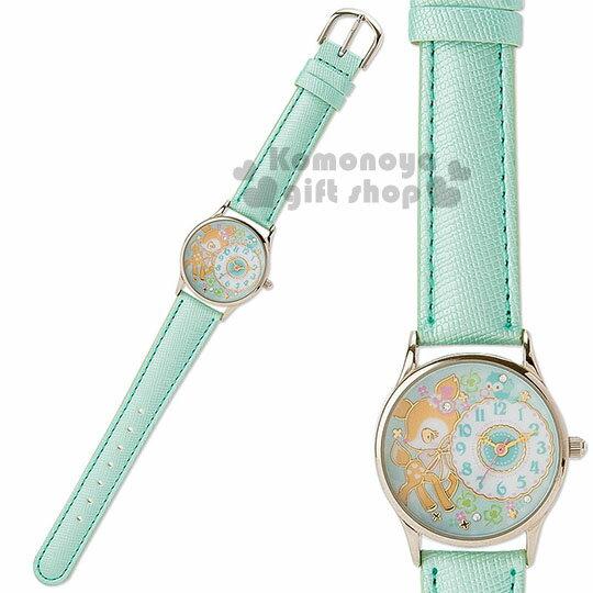 〔小禮堂〕哈妮鹿 皮革造型手錶《綠.站姿.幸運草.鳥.造型指針.透明盒裝》