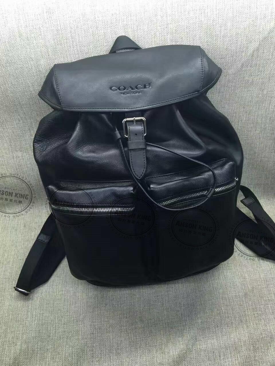 美國Outlet代購 Coach 全新正品 F71728 牛皮壓紋翻蓋式抽繩後背包 雙肩包 書包 上班包 黑色