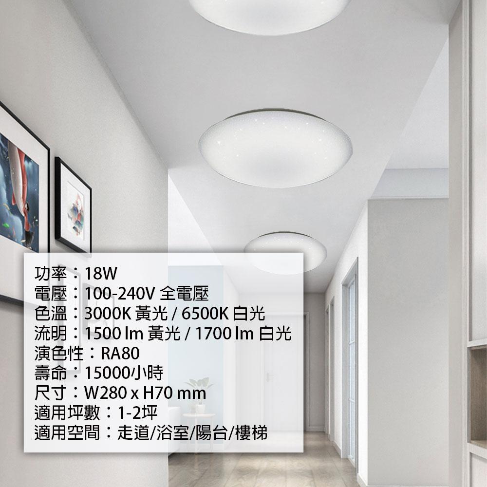 亮博士 / 亮麗星空 LED 18W 全電壓 吸頂燈 白光 黃光 /  /  永光照明DR-REC-18W%D✈99購物節 6