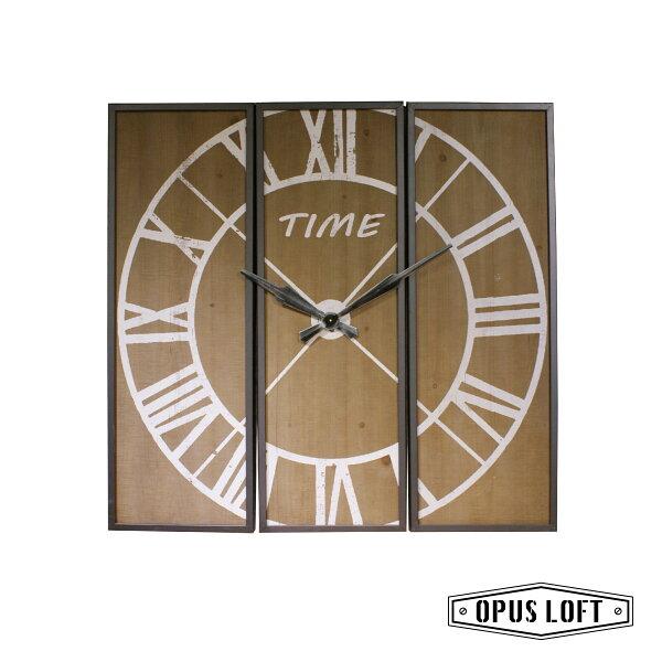 ★新品★LOFT工業風仿舊三件式羅馬壁掛鐘