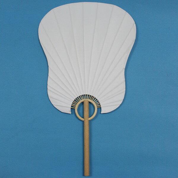 空白紙扇子 木柄桿芭蕉型彩繪紙扇子 雙面紙/一支入{促45}~環保扇子 手繪扇