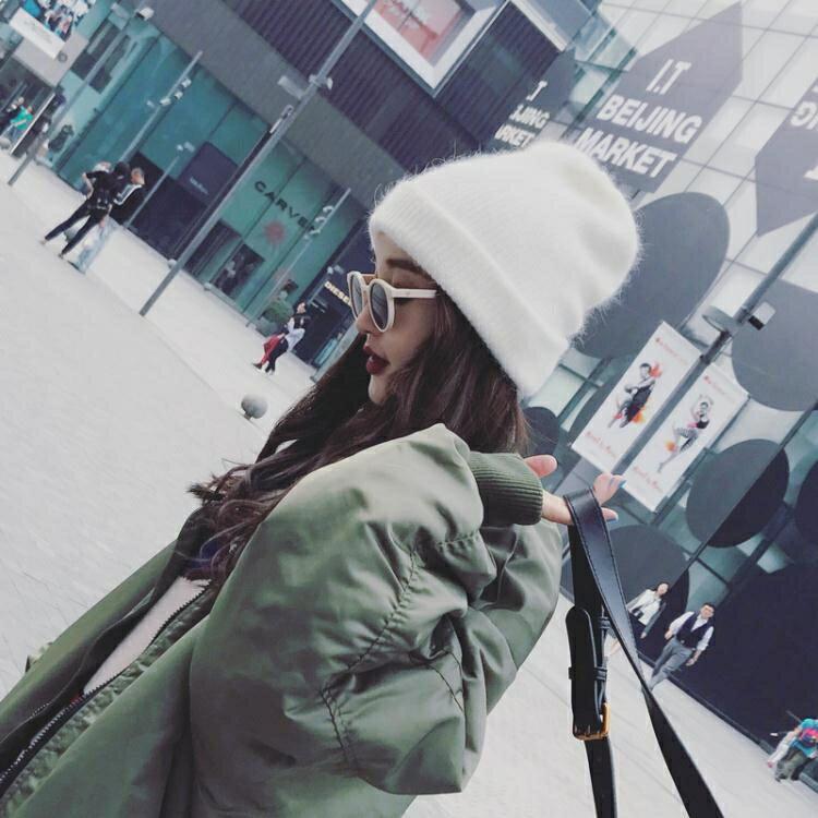 秋冬兔毛冬帽白色毛絨帽子女冬毛線帽
