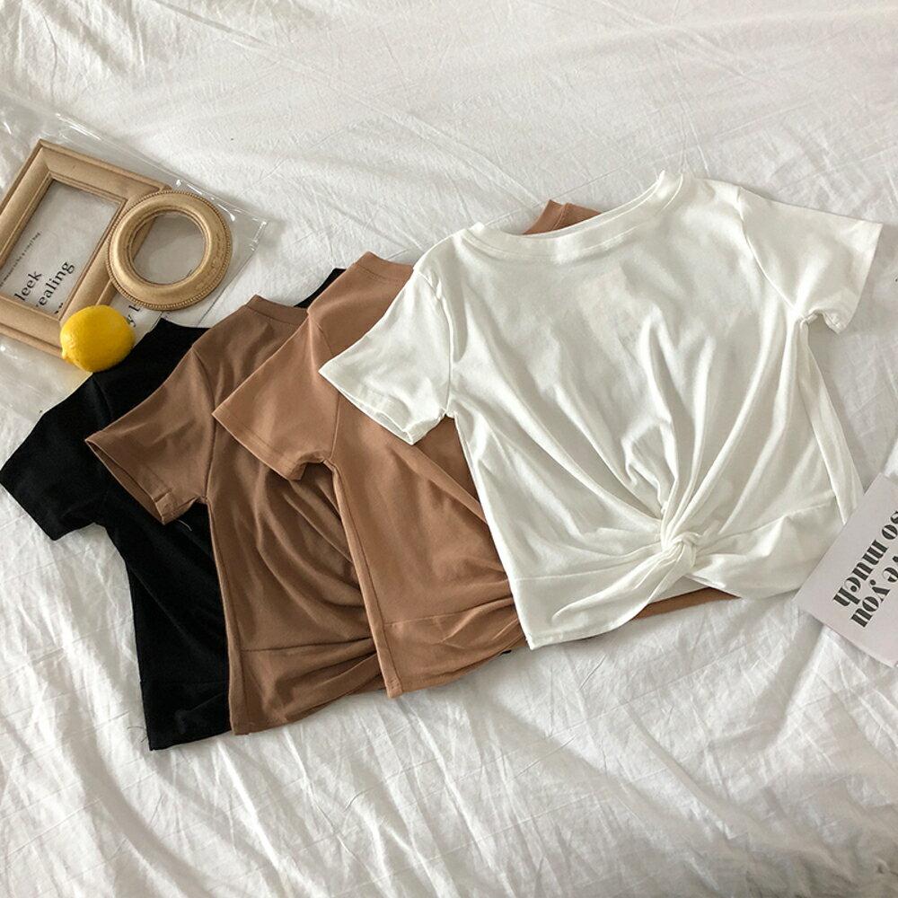 短袖女夏 韓版夏季寬松打結短款圓領純色短袖T恤女夏季學生打底衫體恤上衣 印象部落