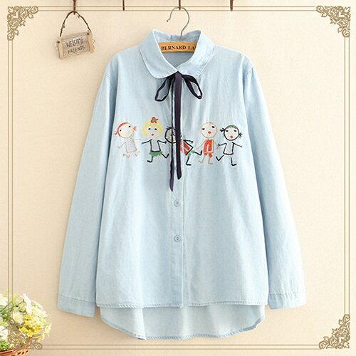 *ORead*刺繡棉布繫帶蝴蝶結寬鬆襯衫(2色F碼) 1